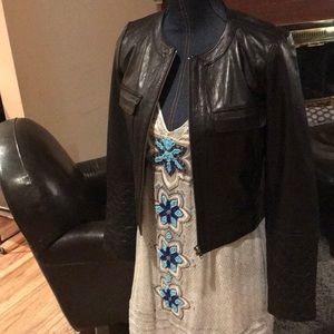 Trouve Crop Leather Jacket Quilt Zip Sleeves